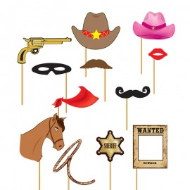 Set Photobooth Cowboy 12 Pcs