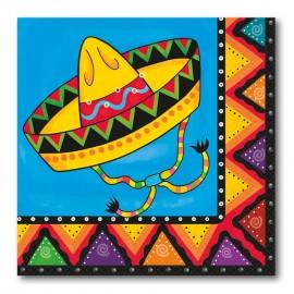 20 Serviettes Mexicaines avec Sombrero 33 cm