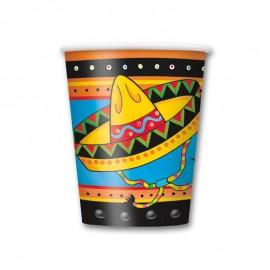 8 Gobelets Avec Sombrero Mexicain 250 mL