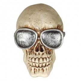 Crâne avec Lunettes en Résine 11 cm