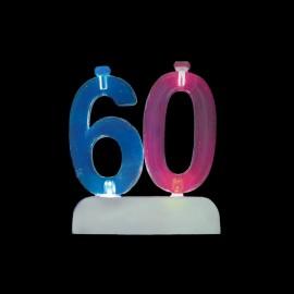 4 Bougies et Chiffre 60 Clignotant