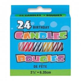 24 Bougies Motif Spiral Et Couleurs Variées