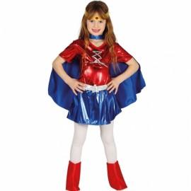 Déguisement de Super Héroïne Bleu et Rouge pour Fille
