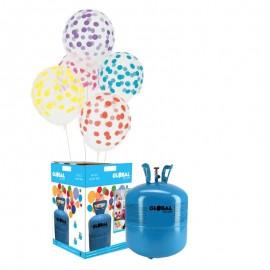 Bouteille d'Hélium Petite avec 30 Ballons Transparents à Pois