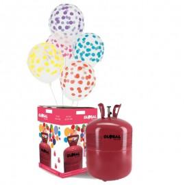 Bouteille d'Hélium Grande avec 50 Ballons Transparents à Pois