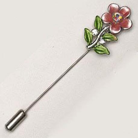 12 Épingles Fleur avec Diamant Métallique