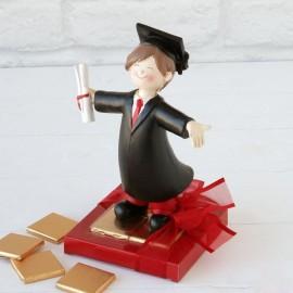 2 Figurines Graduation Garçon 8 Chocolats