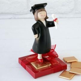 2 Figurines Graduation Fille 8 Chocolats