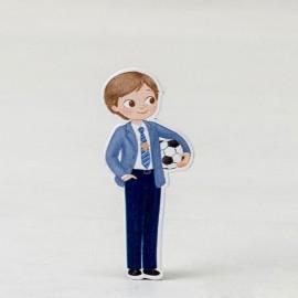 10 Figurines Garçon avec Balle 2D Adhésive 5,5 cm