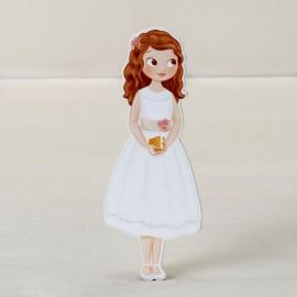 6 Figurines Fille avec Robe 2D Adhésive 11 cm