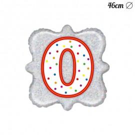 Ballon Carré Chiffre 0 Mylar 46 cm
