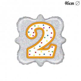 Ballon Chiffre 2 Mylar Carré 46 cm