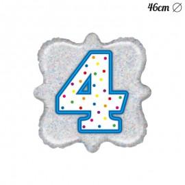 Ballon Carré Chiffre 4 Mylar 46 cm