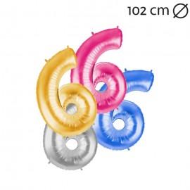 Ballon 102 cm en Mylar Chiffre 6