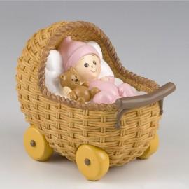 Figurine pour Gâteau et Tirelire avec Poussette et Bébé
