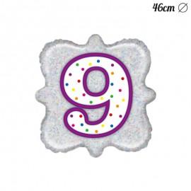 Ballon Carré Chiffre 9 en Mylar 46 cm