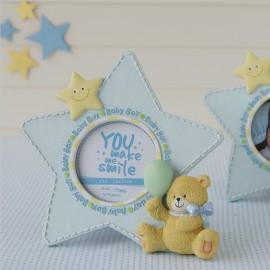 Cadre Photo avec Étoile Bleue et Ours de 19 cm