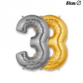 Ballon Mylar Numéro 3 86 cm