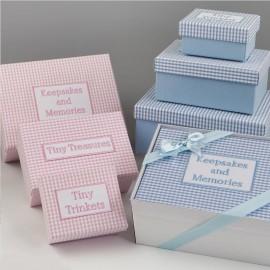 Pack 3 Boîtes Souvenirs Bleu Vichy avec Coffret Cadeau