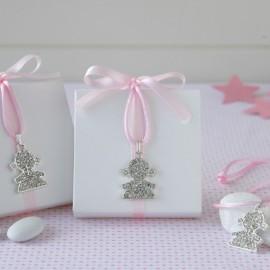 Boîte Blanche Ruban Rose avec Pendentif à Paillettes et 5 Dragées