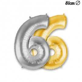 Ballon Mylar Numéro 6 86 cm