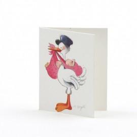 100 Cartes Livret avec Cigogne Mignonne