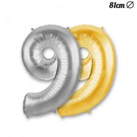 Ballon Mylar Numéro 9 Foil 86 cm