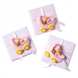 3 Magnets Bebé en Pousette avec 5 Dragées