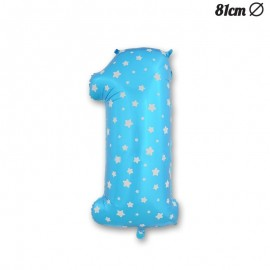 Ballon Numéro 1 Bleu Avec Étoiles 81 cm