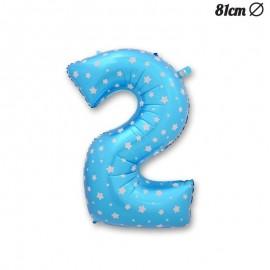 Ballon Numéro 2 Bleu Avec Étoiles 81 cm