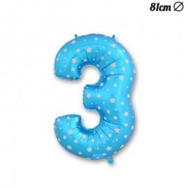 Ballon Numéro 3 Bleu Avec Étoiles 81 cm
