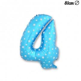 Ballon Numéro 4 Bleu Avec Étoiles 81 cm