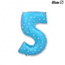 Ballon Numéro 5 Bleu Avec Étoiles 81 cm