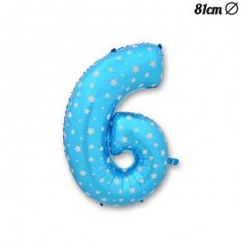 Ballon Numéro 6 Bleu Avec Étoiles 81 cm