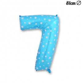 Ballon Numéro 7 Bleu Avec Étoiles 81 cm