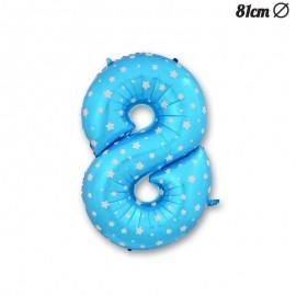 Ballon Numéro 8 Bleu Avec Étoiles 81 cm