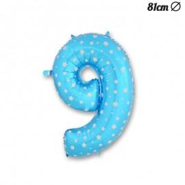 Ballon Numéro 9 Bleu Avec Étoiles 81 cm