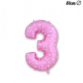 Ballon Numéro 3 Rose Avec Coeurs 81 cm