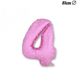 Ballon Numéro 4 Rose Avec Coeurs 81 cm