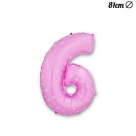Ballon Numéro 6 Rose Avec Coeurs 81 cm