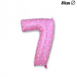 Ballon Numéro 7 Rose Avec Coeurs 81 cm