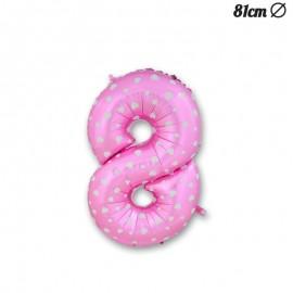 Ballon Numéro 8 Rose Avec Coeurs 81 cm