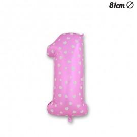 Ballon Numéro 1 Rose Avec Coeurs 81 cm
