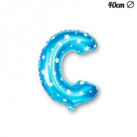 Ballon Lettre C Bleu Avec Etoiles 40 cm