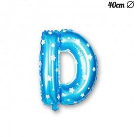 Ballon Lettre D Bleu Avec Etoiles 40 cm