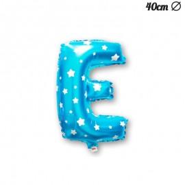 Ballon Lettre E Bleu Avec Etoiles 40 cm