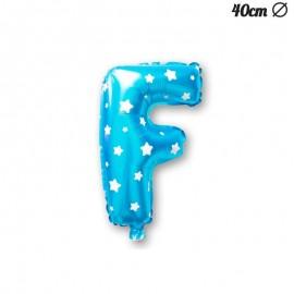 Ballon Lettre F Bleu Avec Etoiles 40 cm