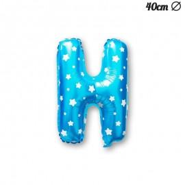Ballon Lettre H Bleu Avec Etoiles 40 cm