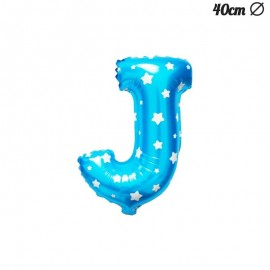 Ballon Lettre J Bleu Avec Etoiles 40 cm