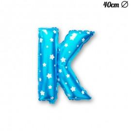 Ballon Lettre K Bleu Avec Etoiles 40 cm
